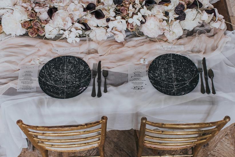 celestial wedding theme tablescape