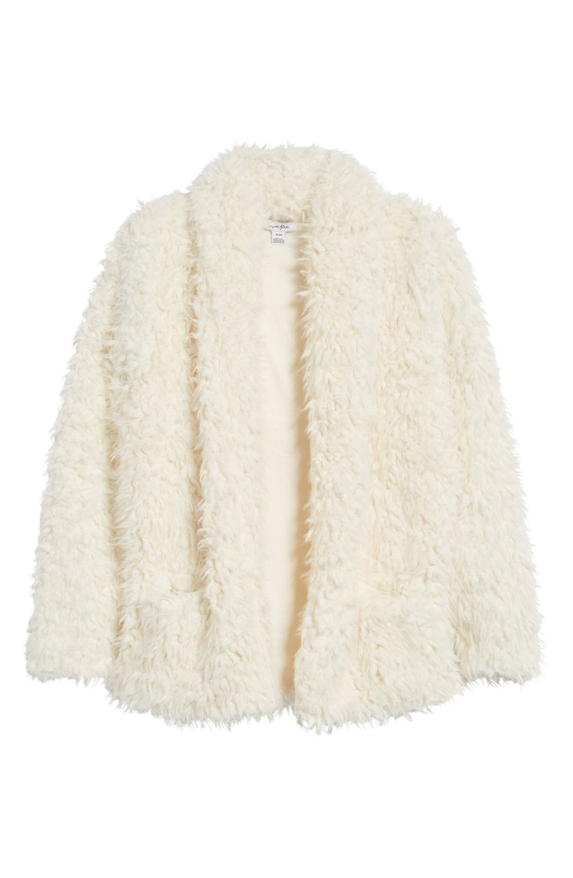 oversized ivory faux fur sherpa bridal jacket for winter wedding