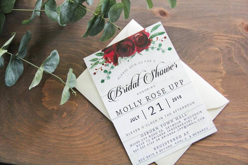 bridal shower invitation with red flower design