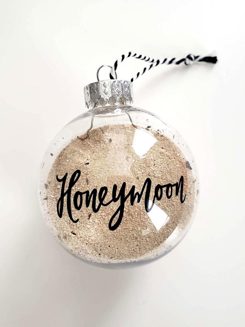 honeymoon sand wedding christmas ornament