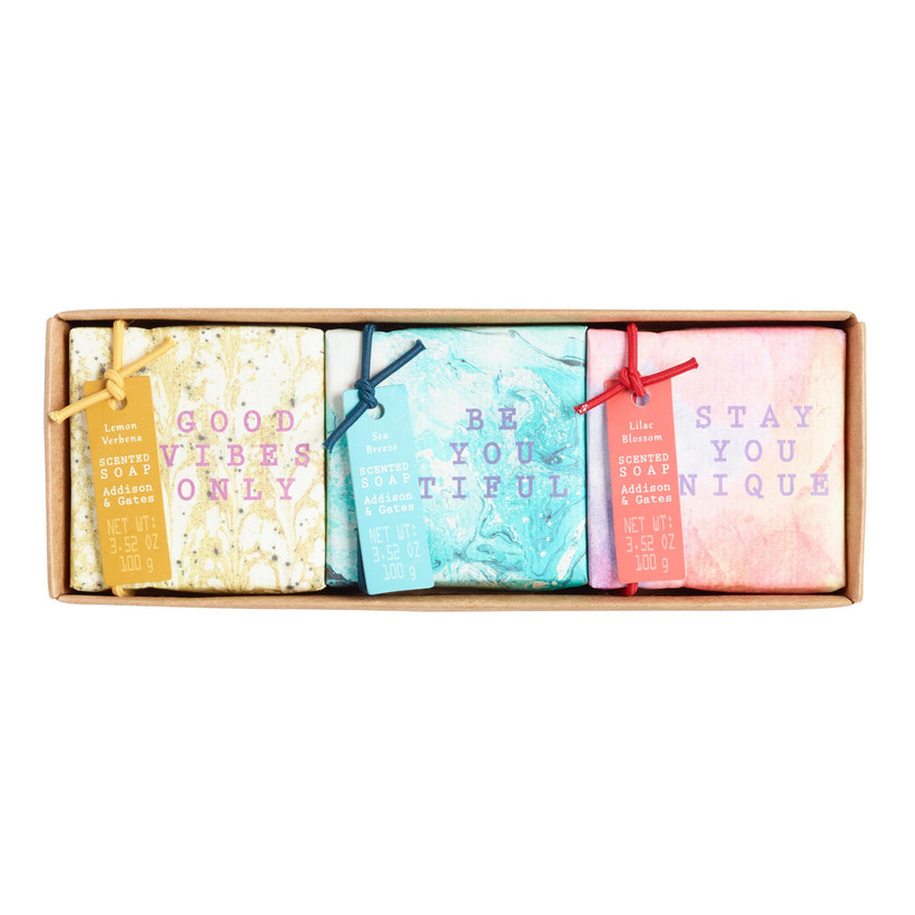 Gift set of three bars of soap with encouraging labels like Good Vibes Only and Be You Tiful
