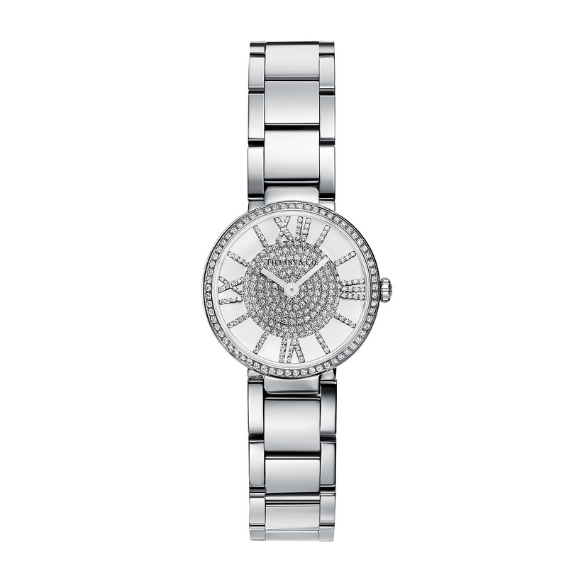 Stainless steel engagement watch with diamond-studded dial and bezel