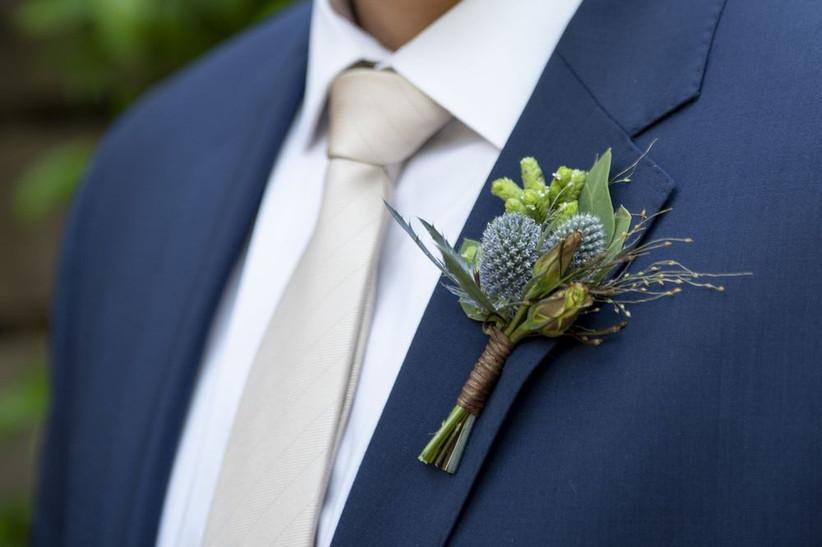 blue thistle wedding boutonniere