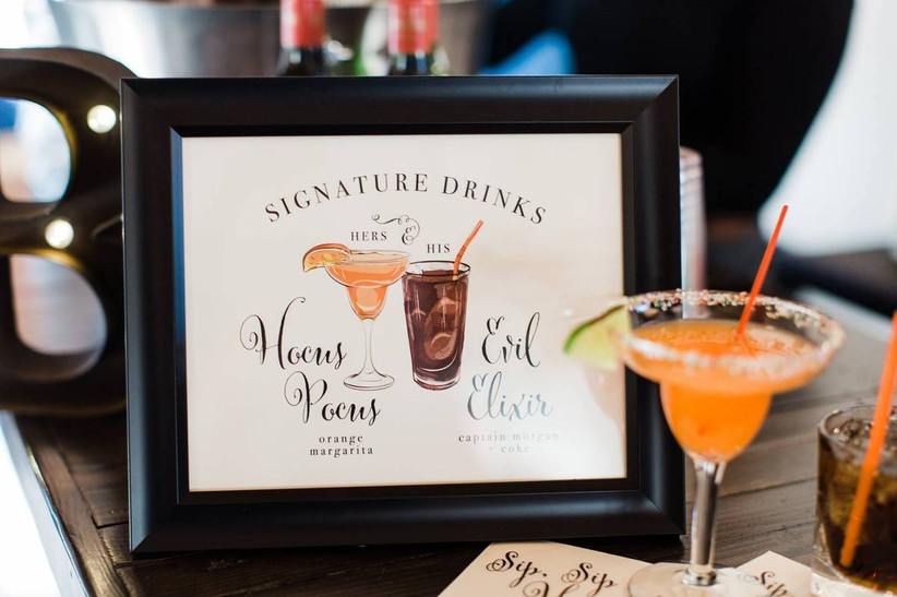 halloween wedding drink menu