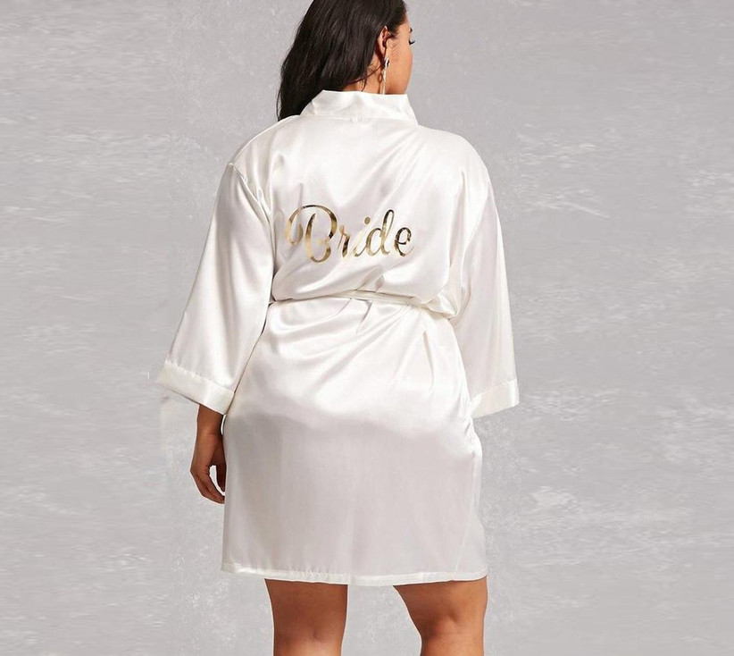 White plus-size bridal robe with Bride on the back
