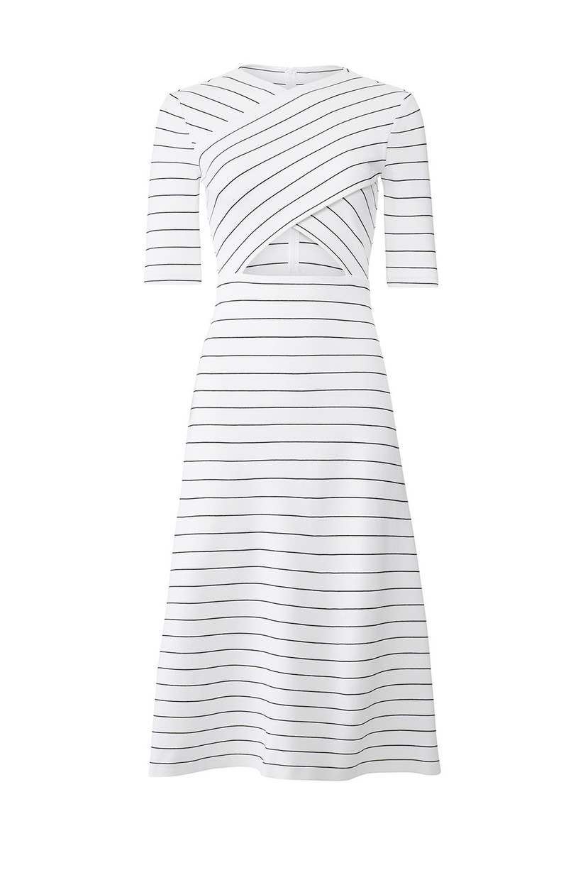 mid-length engagement party dress white with black horizontal stripes and cutout under bust