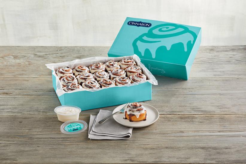 Cinnabon box full of MiniBon rolls food gift idea for couples
