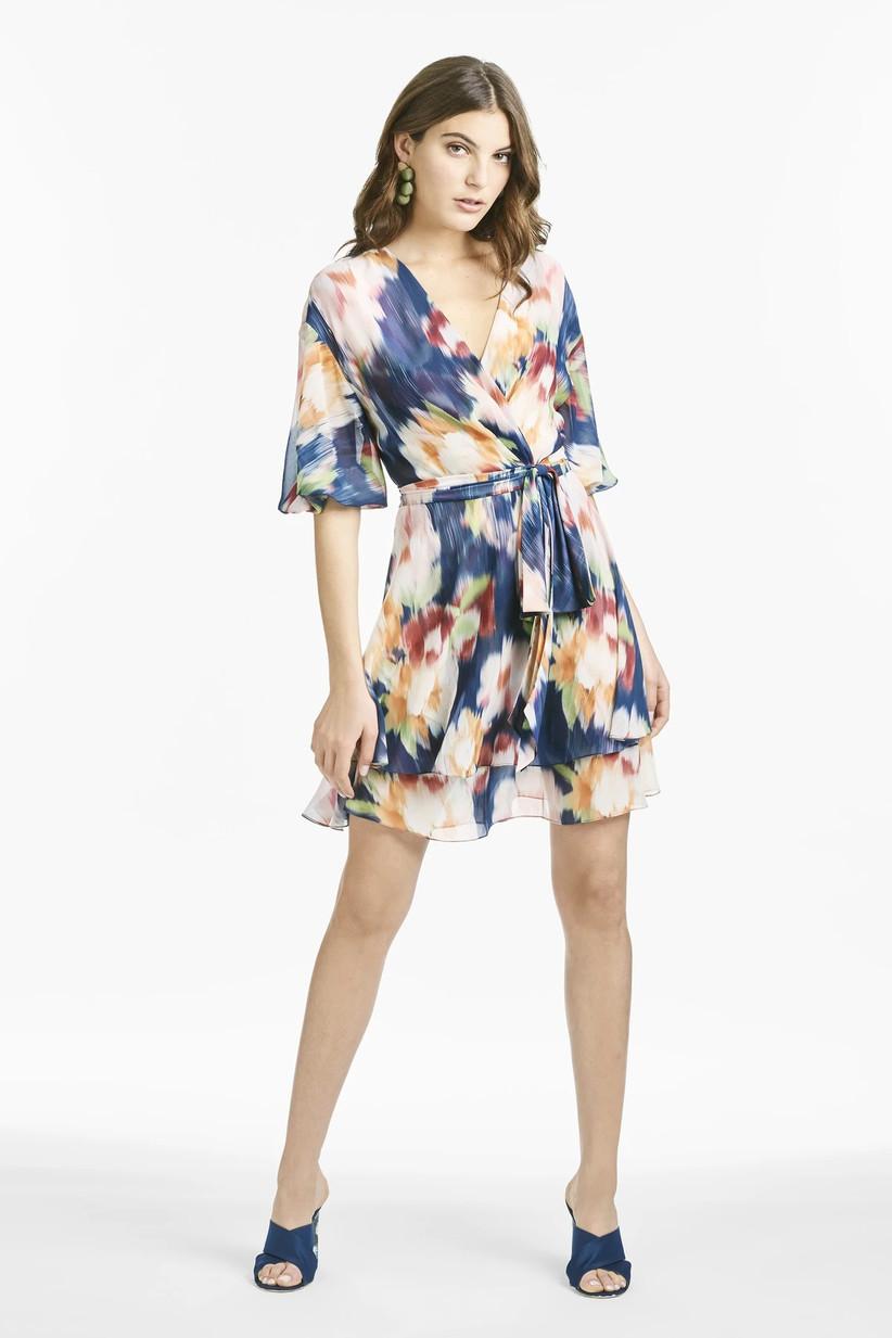 Short floral wrap dress