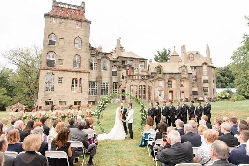 wedding ceremony at Fonthill Castle Estate