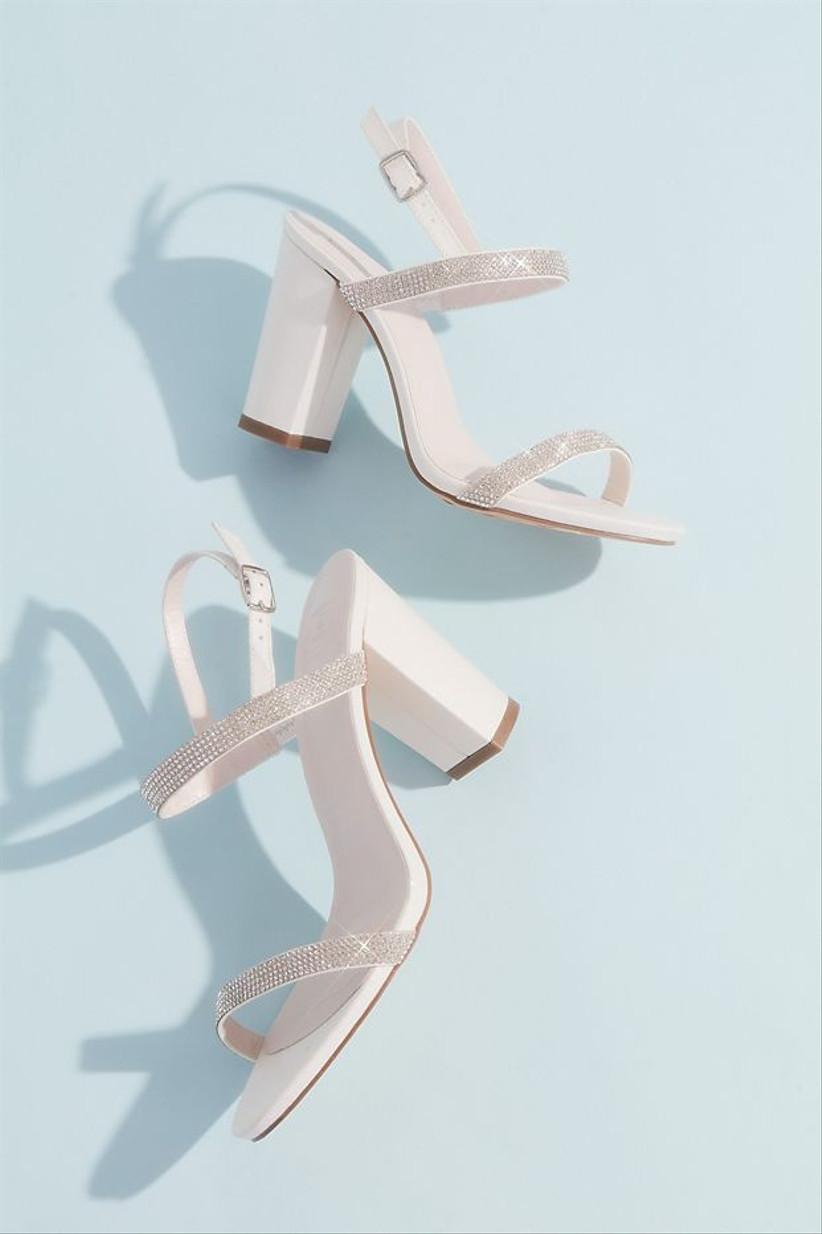 white block heel beach wedding sandals with silver rhinestone straps