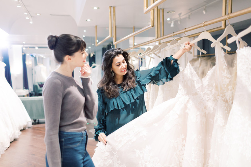 bride shopping for wedding dress