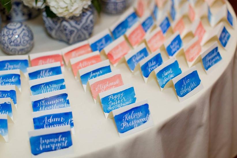 watercolor wedding escort cards