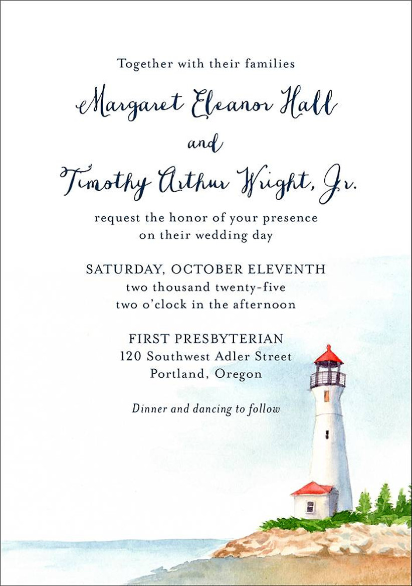 beach summer wedding invitation with lighthouse scene at the bottom