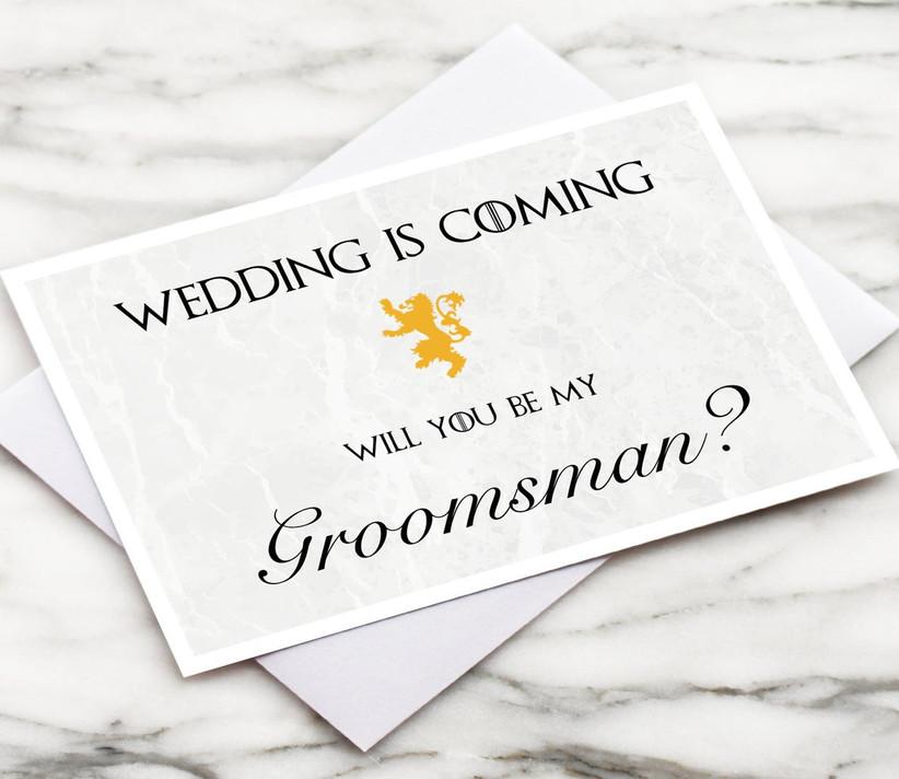 Game of Thrones groomsmen proposal card