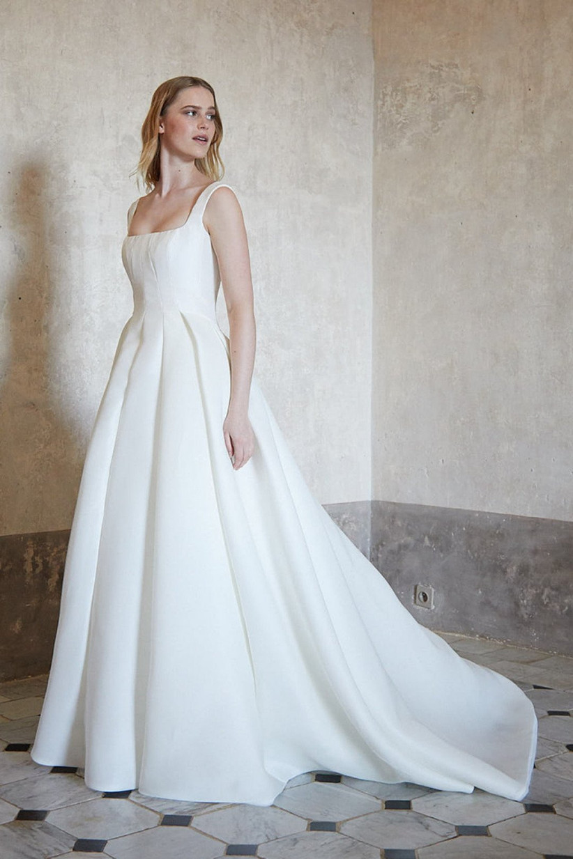 ball gown with square neckline and thick sleeveless straps