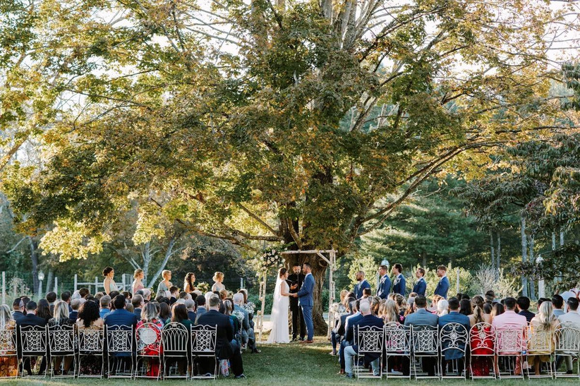 outdoor wedding ceremony under a tree