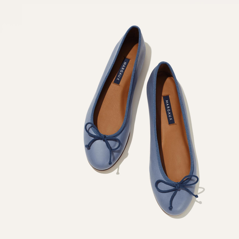 blue wedding shoes cerulean ballet flats with adjustable navy blue bows