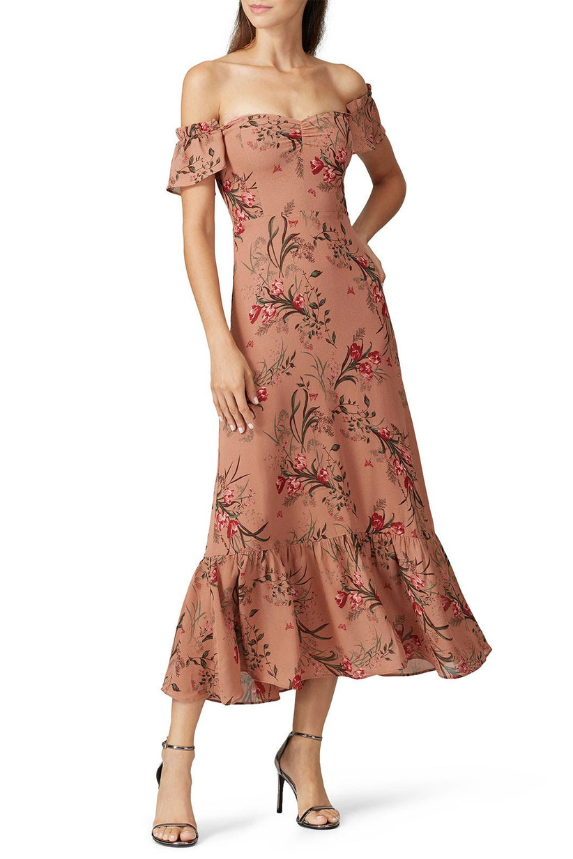 Earthy pink floral midi with ruffle details and off-the-shoulder sleeves