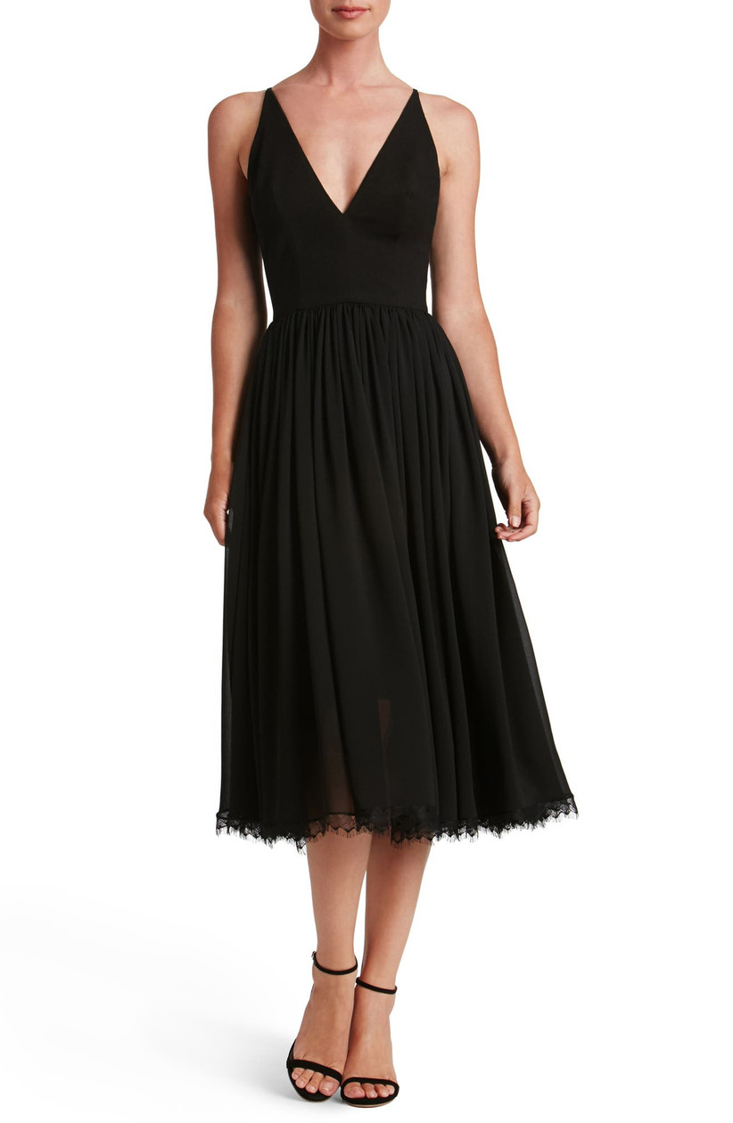 black chiffon midi engagement party dress with v-neck and spaghetti straps
