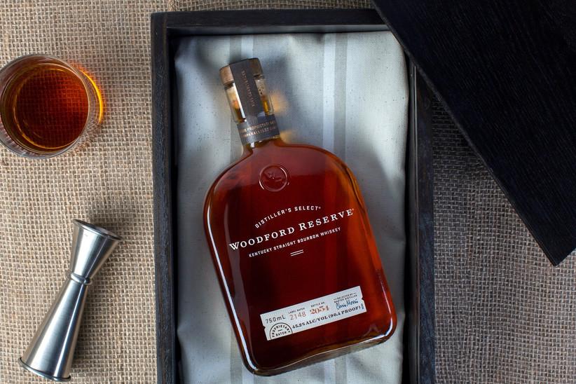 Bottle of bourbon in a fancy gift box