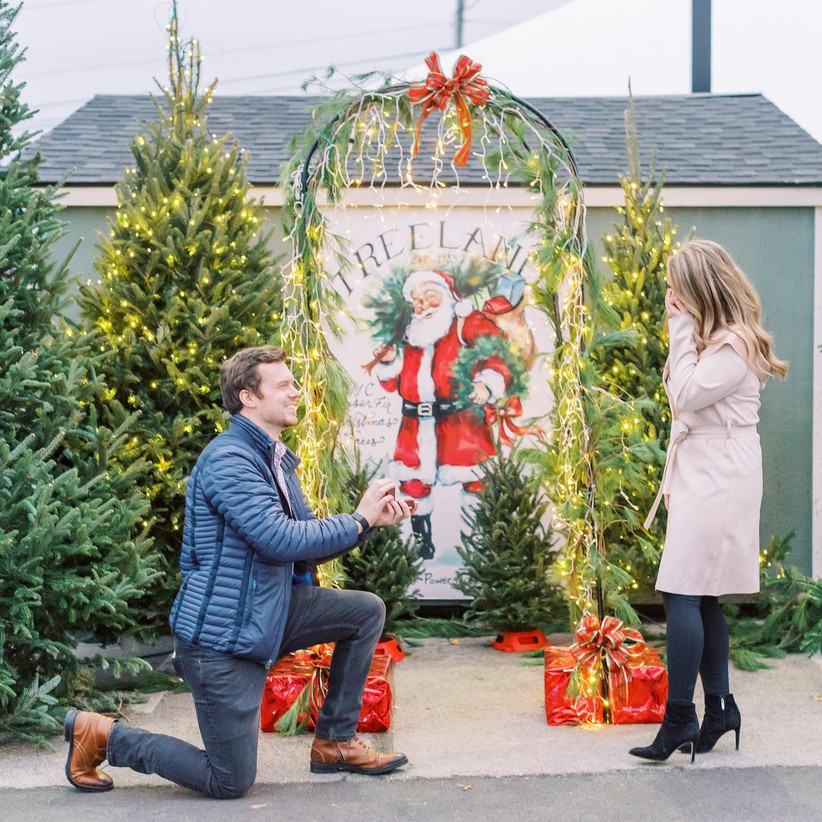 proposal at christmas tree farm