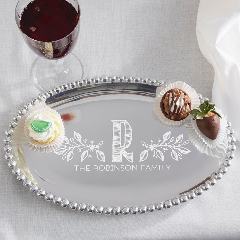 Elegant silver tray personalized with family name 16th anniversary gift idea