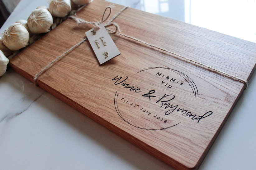 Personalized cutting board housewarming gift for couples