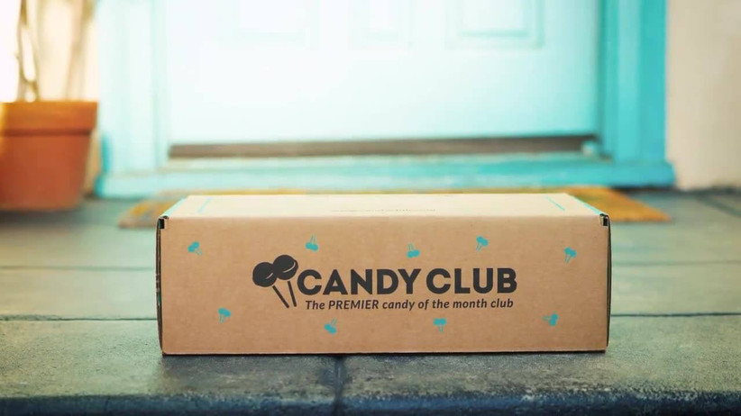 Candy Club box on doorstep food gift idea for couples