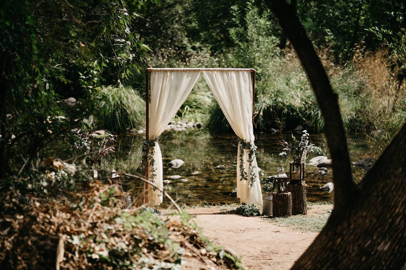 outdoor forest wedding ceremony