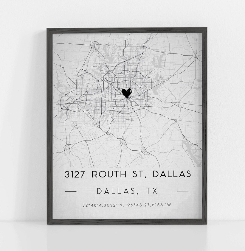 Framed map illustration with heart pin point