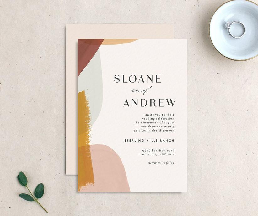 Abstract brushstroke affordable wedding invitation
