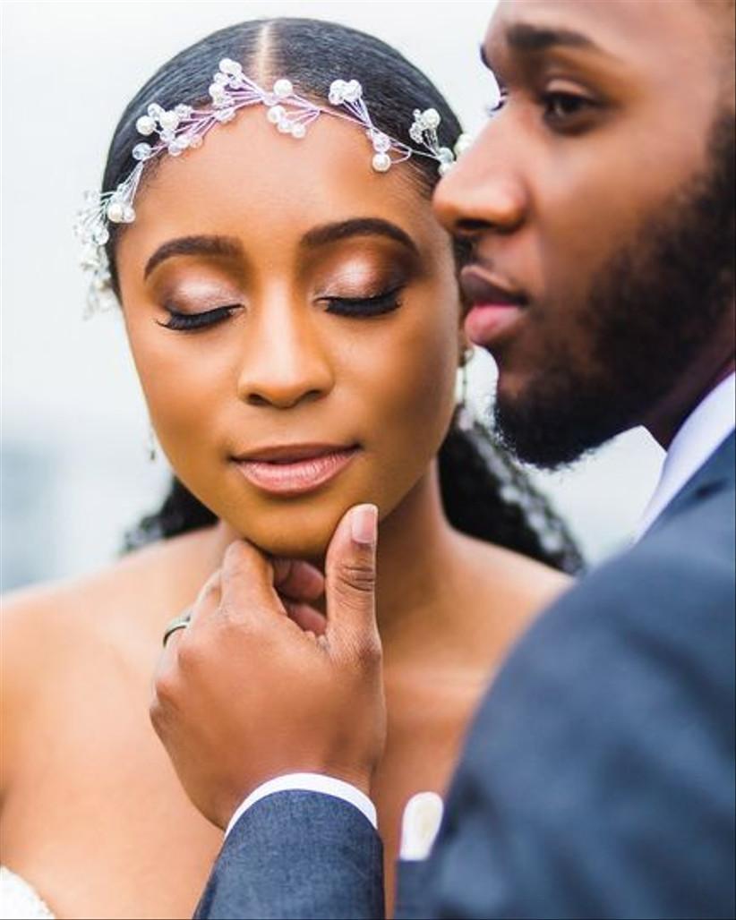 bridal makeup portrait with groom