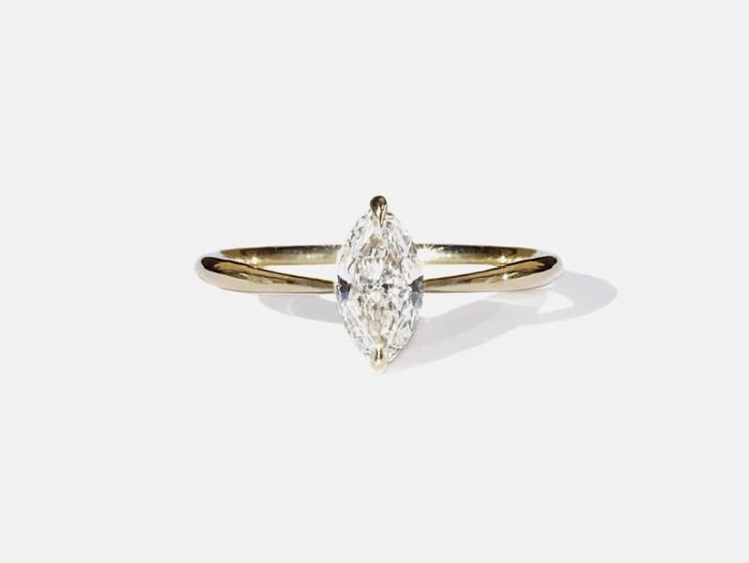 Marquise-cut diamond on a minimalist gold band