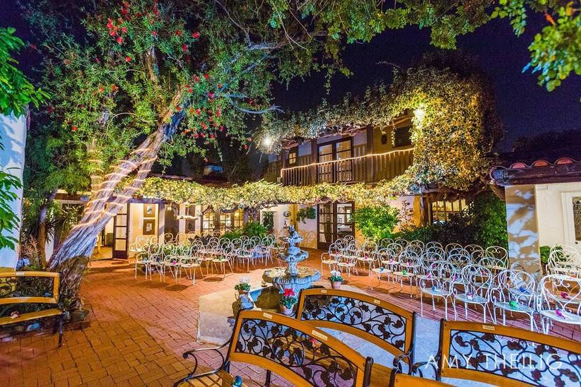 nighttime wedding ceremony in courtyard