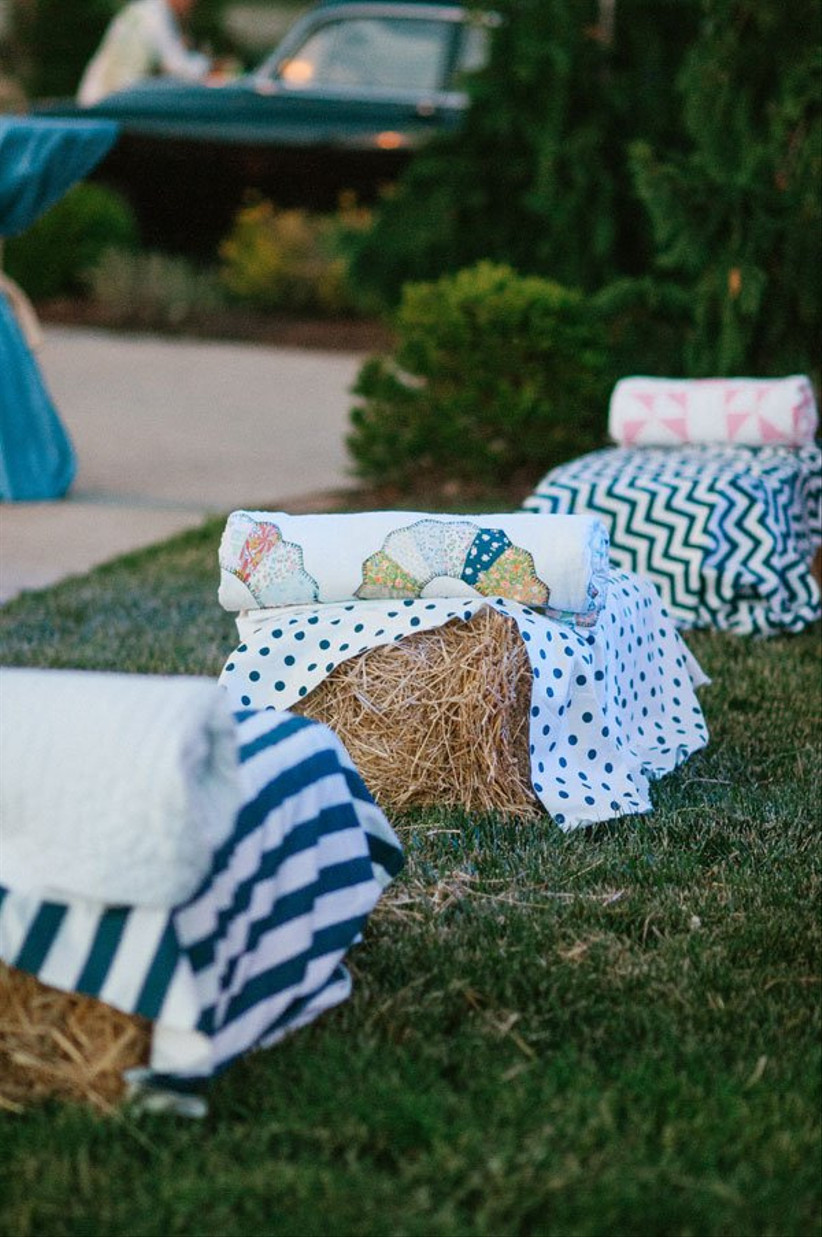 rustic wedding idea hay bale seats