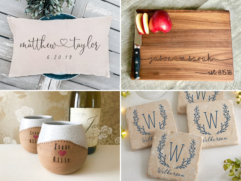 Collage of four custom wedding gift ideas including throw pillow, cutting board, wine tumblers, and coasters