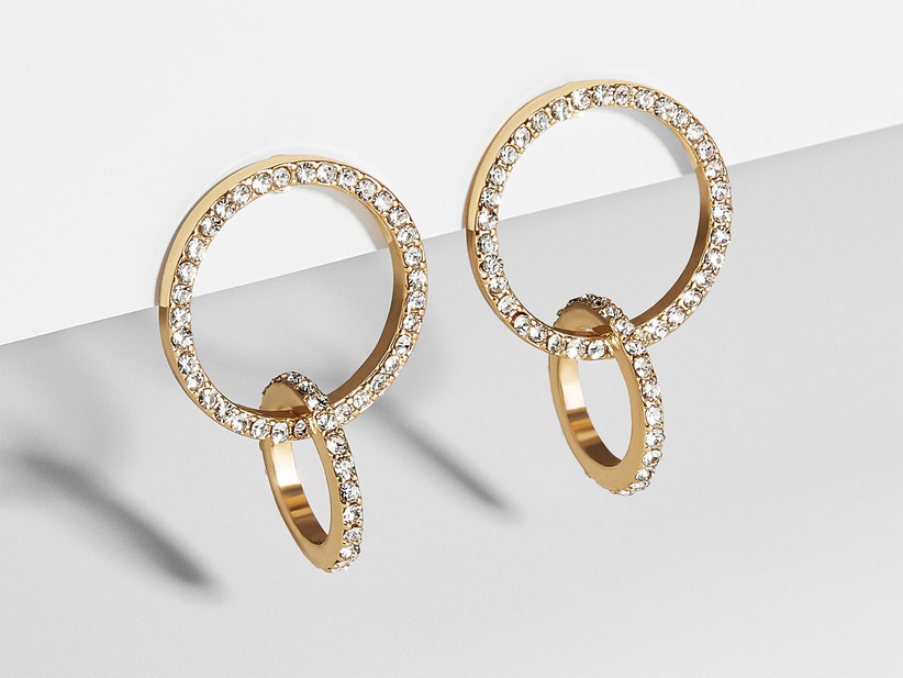 Interlocking circle drop earrings with pavé crystals
