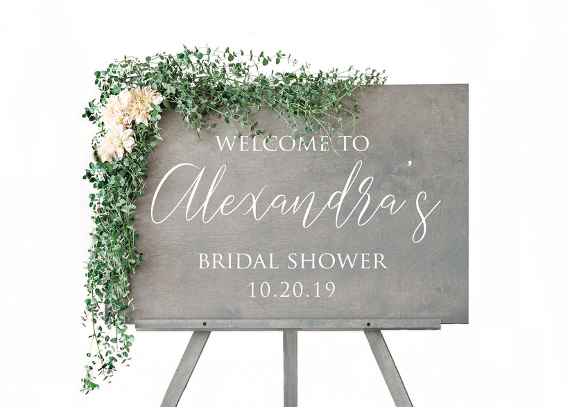 gray wooden bridal shower sign