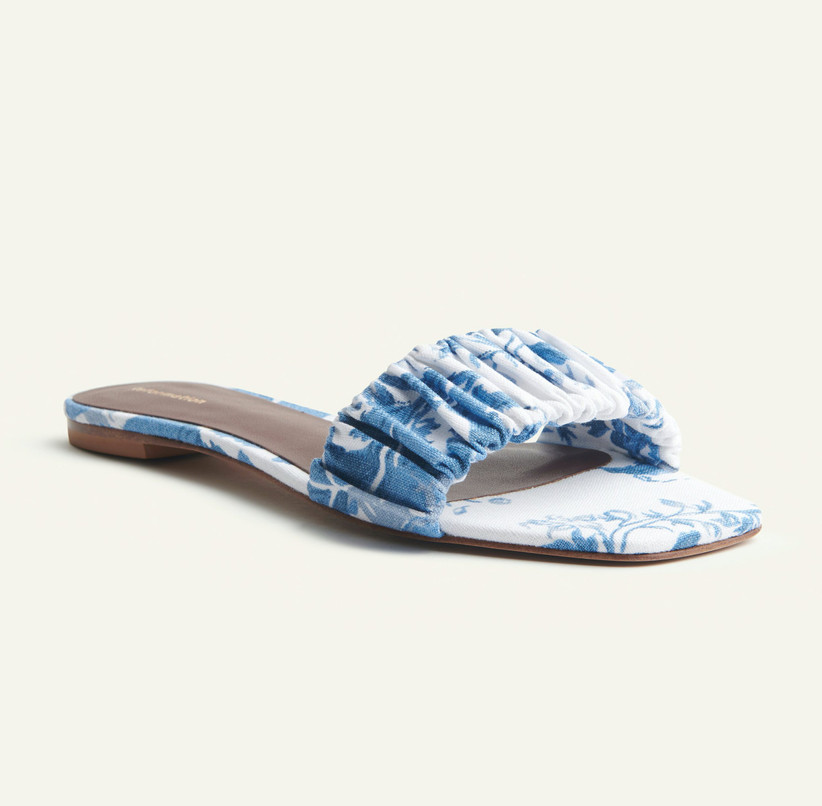 slip on blue wedding sandals with floral patterned blue and white fabric