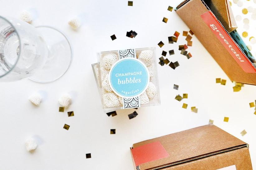 Champagne bubbles bridesmaid box candy idea