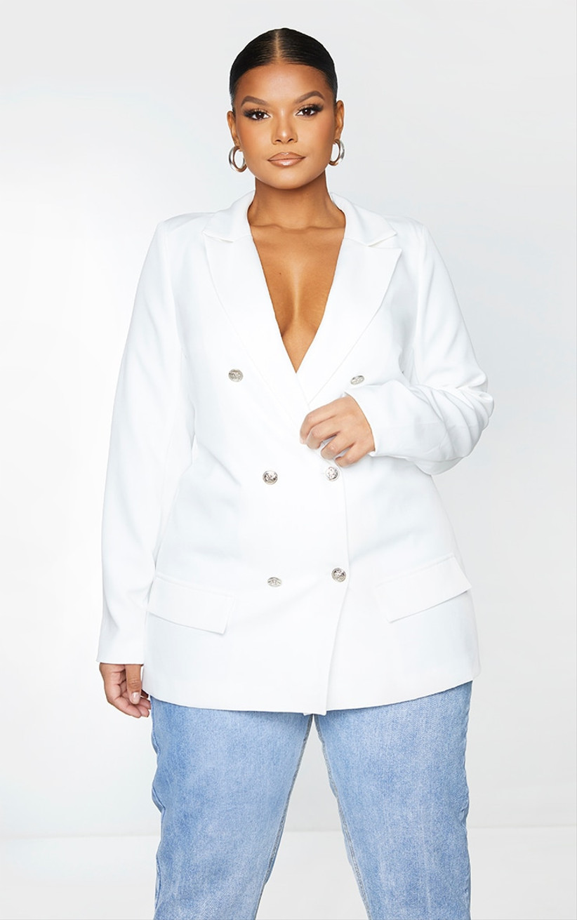 oversized double-breasted white blazer with silver buttons