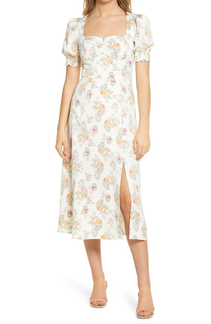 midi length engagement party dress with square neckline and floral print