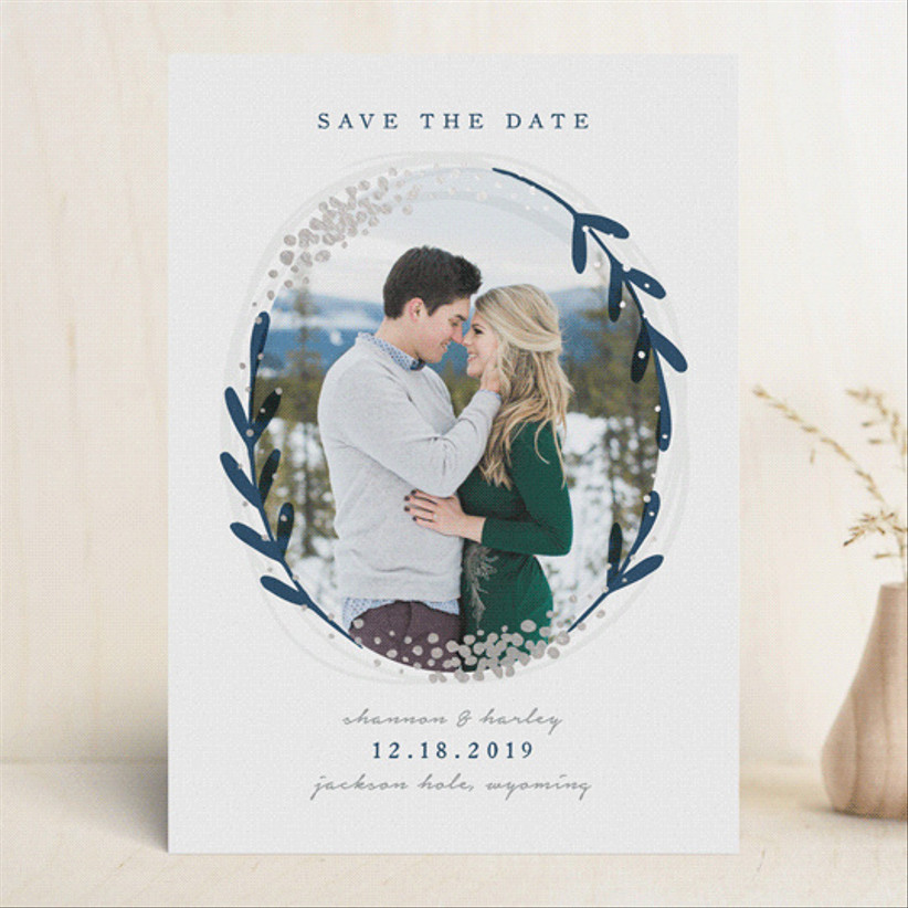 snow globe save the date