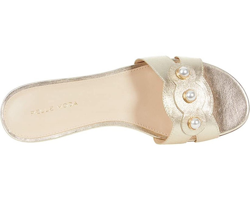 slip-on gold wedding shoe flat sandal with pearl detail on strap