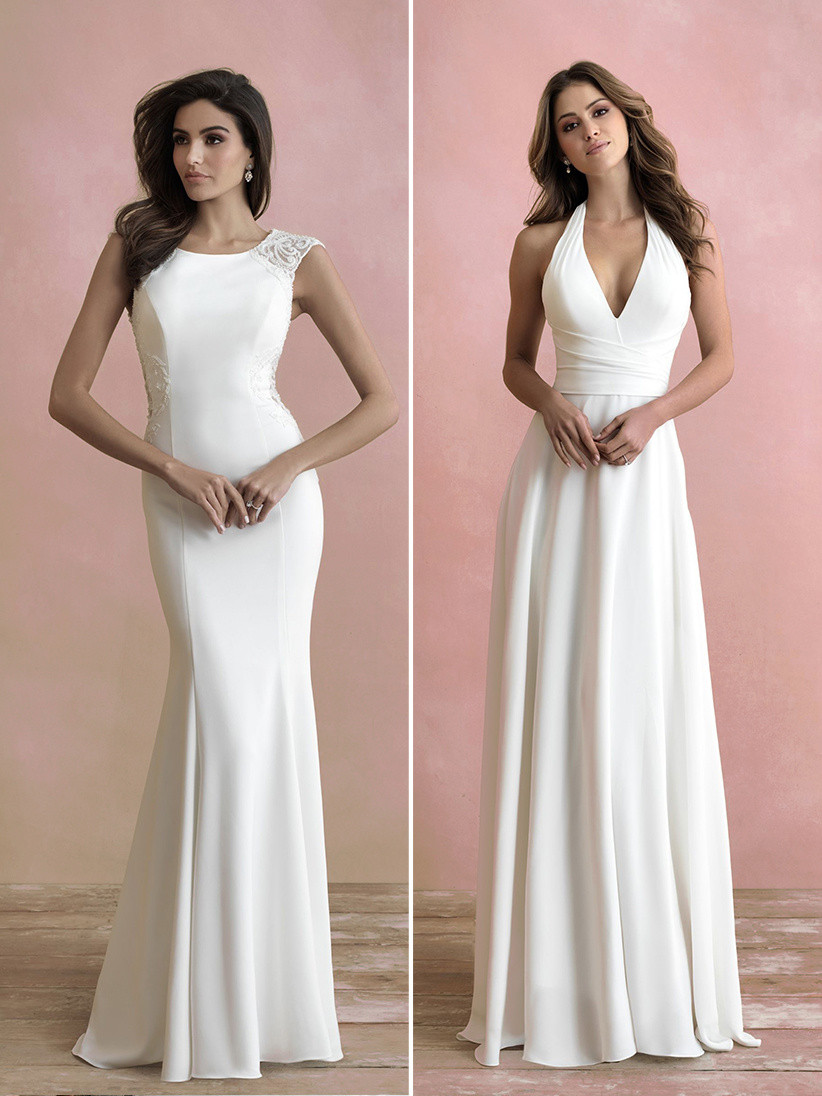Allure Bridals capsleeve fitted wedding dress and halter wedding dress