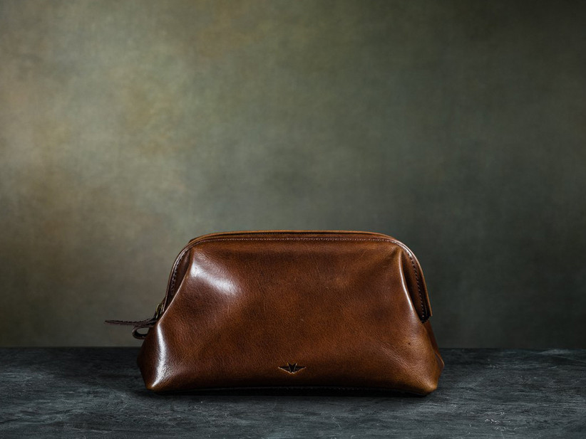 Luxury Italian leather toiletry bag father of the groom gift
