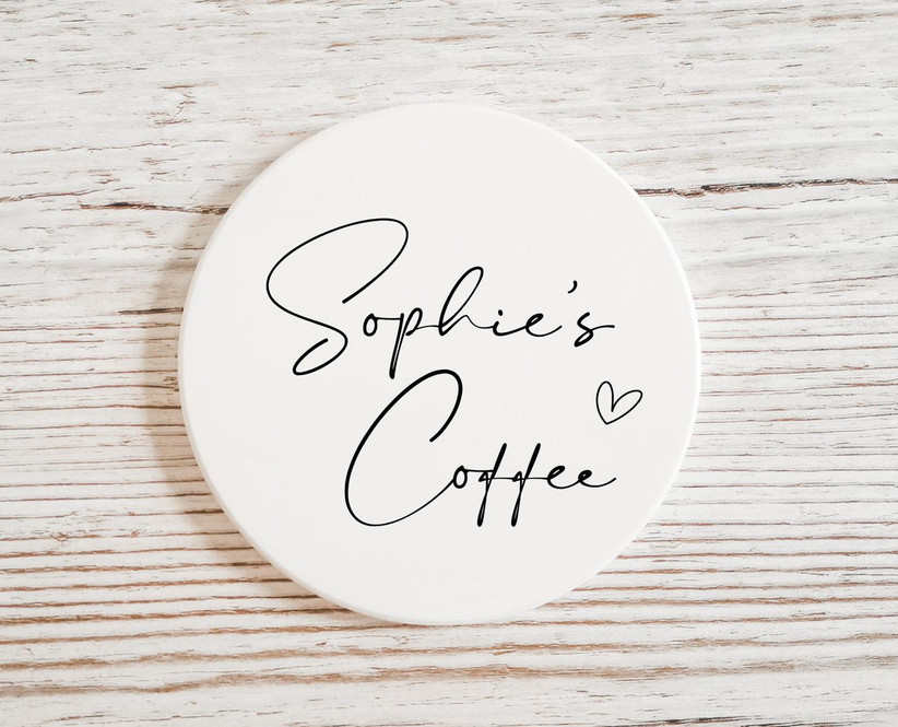 Coaster personalized with Sophie's Coffee bridesmaid gift idea