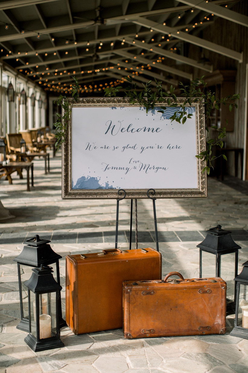 travel themed wedding welcome sign with postal stamp motifs
