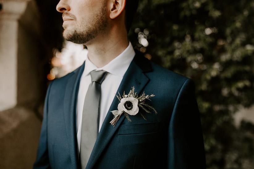 white anemone wedding boutonniere