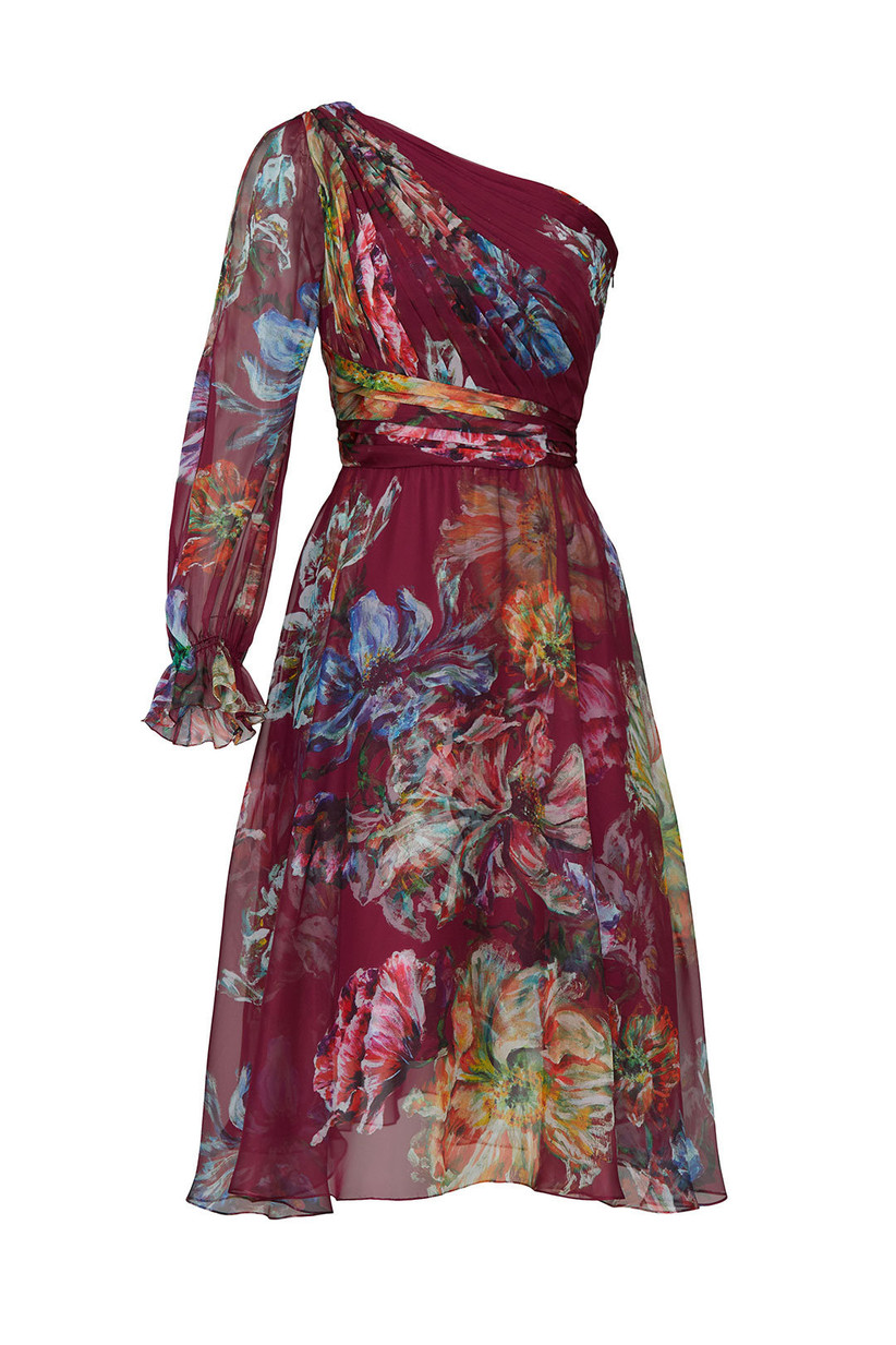 one-shoulder engagement party dress burgundy chiffon with colorful watercolor-style floral print